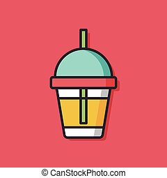 ice coffee color line icon
