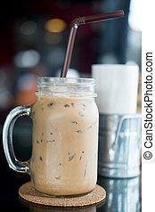 Ice coffee in mason jar