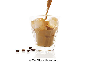 Ice coffee isolated. - Ice coffee. Pouring ice coffee into...