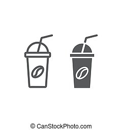 Ice coffee line and glyph icon, coffee and cafe, cup sign vector graphics, a linear pattern on a white background, eps 10.