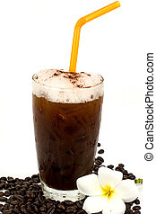ice coffee on white background with coffee beans