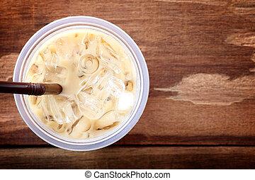 ice coffee on wood table