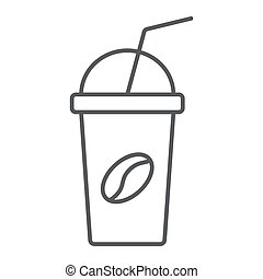 Ice coffee thin line icon, coffee and cafe, cup sign vector graphics, a linear pattern on a white background, eps 10.