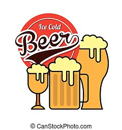 ice cold beer emblem vector illustration design