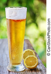 Ice cold beer and lemon