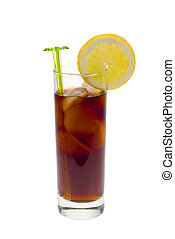 ice cold cola drink with fresh lemon isolated on a white...