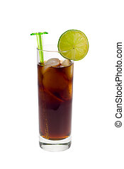 ice cold cola drink with fresh lime