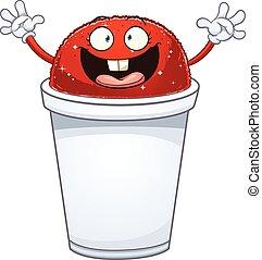 Ice cone - Happy ice cone. Vector clip art illustration with...