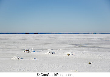 Background image from the coast of ice covered Baltic Sea.