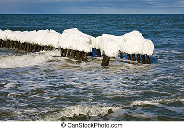 Ice-covered breakwater