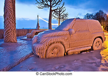 Car with frozen ice at Lake Geneva during Europe 2012 unusual extreme low temperature.