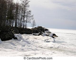 Ice-covered Lake Baikal. Spring.