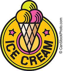 (ice, crème, icon), glace, étiquette
