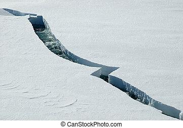 Opening ice crack in Antarctica