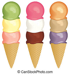 Ice cream 3 scoops - A set of three scoop ice cream cones.