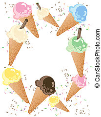 ice cream advert - an illustration of colorful ice cream...