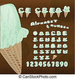 Ice cream alphabet colorful font.