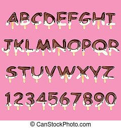 Ice cream alphabet isolated