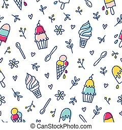 Ice cream and botanical pattern