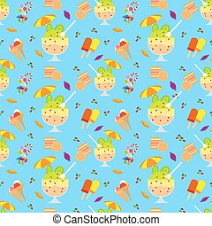 Ice cream and candies seamless pattern