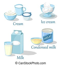 Ice cream and cream, condensed milk or kefir - Calcium milk...