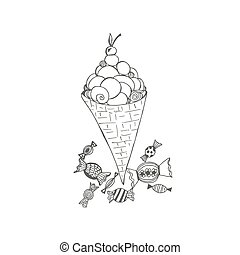ice cream and hard candies. sketch style