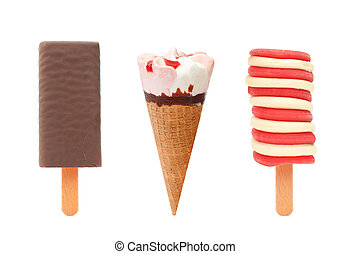 Ice cream and popsicles - Three different flavored ice ...