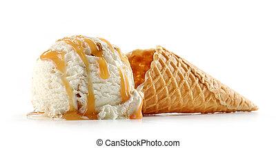 ice cream and waffle cone on white backgrouns - ice cream ...