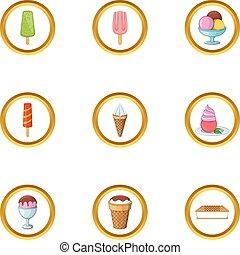 Ice cream assortment icons set, cartoon style