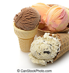 Ice Cream Assortment In Wafer Cups,Close Up