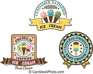 Ice cream badges and labels in circular and square frames...