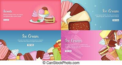 Ice Cream banner set template, cartoon style