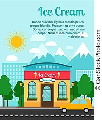 Ice cream banner with shop building