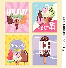 Ice cream banners. Summer desserts caramel sundae waffles, kids sweet cafe menu, holiday party flyers. Vector sale delicious bakery store frame card and posters templates