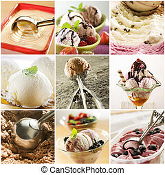 Beautiful ice cream collage made from nine photograph