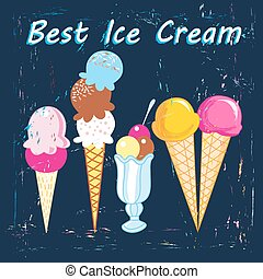 ice cream - bright delicious ice cream on a dark blue...