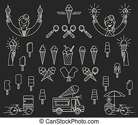 Vector ice cream bundle with signs and icons for any use