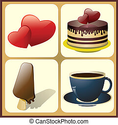 ice cream, cake, coffee cup with hearts