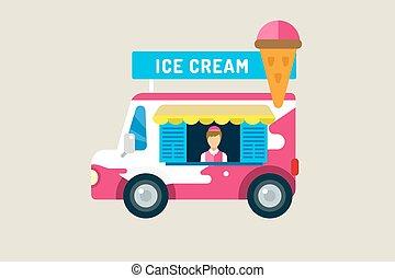 Ice cream car icon. Cold milk product, vanilla symbol, auto...