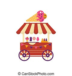 Ice cream cart on wheels with ice cream cone isolated on white background. Summer shop with frozen food sundae, cotton candy, different ice cream, market with sweets flat style.