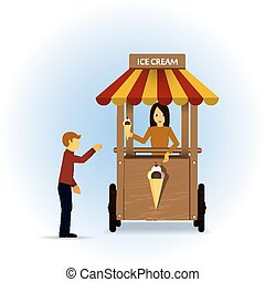 Ice cream cart. - Retro vector Illustration of a ice cream ...
