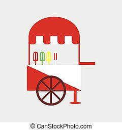 Ice cream cart, vector illustration