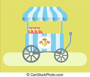 Ice cream cart with striped tent on green medow