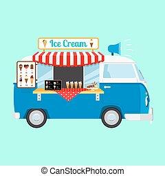 Ice cream cartoon car