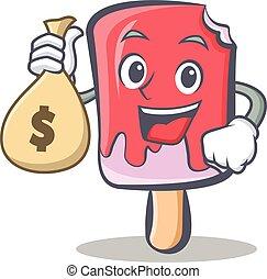 ice cream character cartoon with money bag