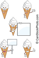 Ice Cream Character. Collection Set