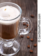Ice Cream Coffee - Ice cream coffee and coffee beans on the...