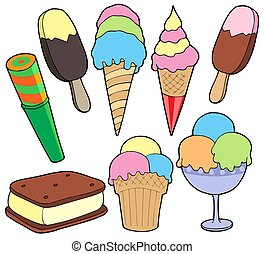 Ice cream collection - isolated illustration.