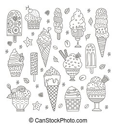 Ice Cream Collection - Collection of cute vector hand drawn...