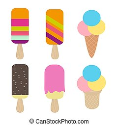 Ice cream collection, isolated on white background